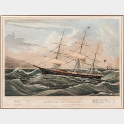 "Nathaniel Currier Lithograph Clipper Ship ""Racer,"""