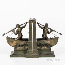 Cast Bronze Whaler Bookends