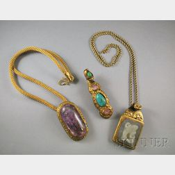 Three Chinese Hardstone and Gilt-metal Jewelry Items