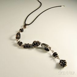Ruth Roach Sterling Silver and Black Cord Necklace