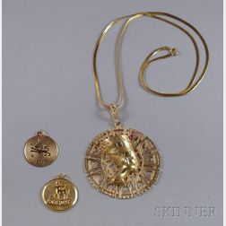 Two 14kt Gold Zodiac Pendants and a Large 14kt Gold Nefertiti Pendant on 14kt Gold Chain.