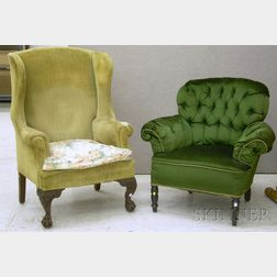 Chippendale-style Upholstered Carved Mahogany Wing Chair and an Edwardian Upholstered Easy Chair.