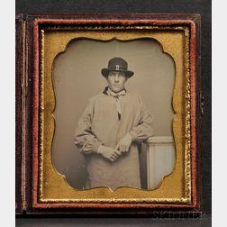Sixth Plate Daguerreotype Portrait of a Man Wearing a Workman's Smock