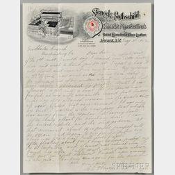 Stengel, Charles Emil Henry, Titanic Survivor (1857-1914) Autograph Letter Signed, 3 May 1912.