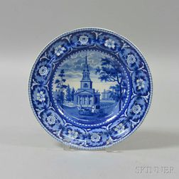 Staffordshire Historical Blue Transfer-decorated Octagon Church, Boston, Soup Plate