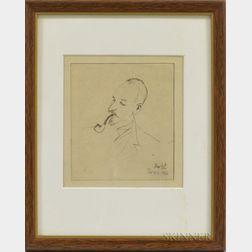 Continental School, 20th Century      Portrait Head of a Man Smoking a Pipe