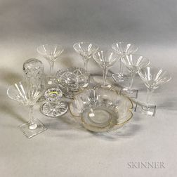 Set of Eleven Limoges Porcelain Plates and Seven Hawkes Colorless Glass Champagnes