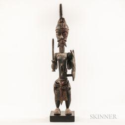 Baule-style Carved Wood Warrior Figure