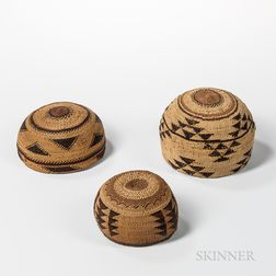 Northwest California Polychrome Basketry Hat and Two Bowls