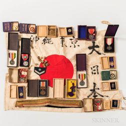 Group of Japanese WWII Medals and Flag