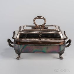 George IV Sterling Silver Tureen and Cover with Sheffield Plated Warming Stand