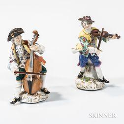 Two Meissen Porcelain Musician Figures
