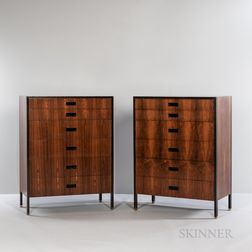 Two Harvey Probber Tall Chests of Drawers