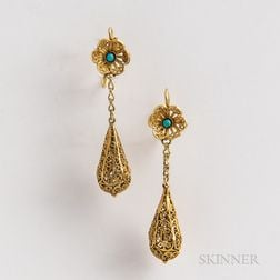 Pair of 14kt Gold and Turquoise Filigree Earrings