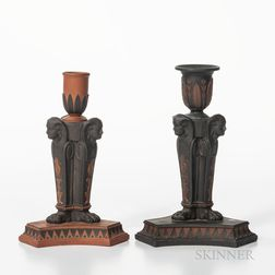 Two Similar Wedgwood Egyptian Candlesticks