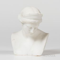 Italian White Marble Bust of Athena