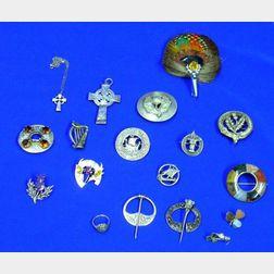 Eighteen Mostly Silver Scottish and Irish Jewelry Items