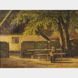 David Monies (Danish, 1812-1894)      View of a Painter at Work