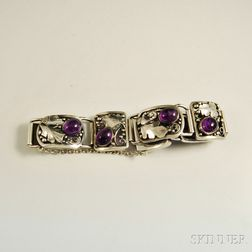Laurence Foss Arts & Crafts Amethyst and Sterling Silver Bracelet