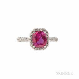Cartier Platinum, Ruby, and Diamond Ring