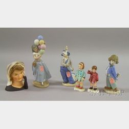 Three Lladro Porcelain Figures and Three Inarco Ceramic Kennedy Figural Items
