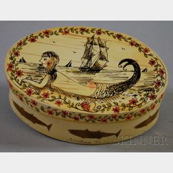 Ralph Cahoon (1910-1982) Oval Paint-decorated Wooden Box with Cover