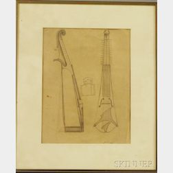 Two Framed Drawings:      Attributed to Frederick Judd Waugh (American, 1861-1940), Sketch of a Viol with Sympathetic Strings