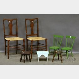 Pair of Beechwood Yoke-back Side Chairs, a Painted Wood Cricket, Two Childs Stools, and a Pair of Side Chairs.