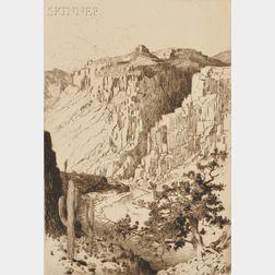 George Elbert Burr (American, 1859-1939)      Sketch on Apache Trail