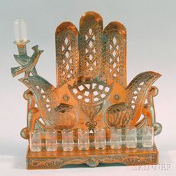 Iraqi Silvered Copper Hamsa-form Hanukkah Lamp