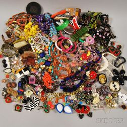 Large Group of Beaded, Plastic, and Bakelite Costume Jewelry