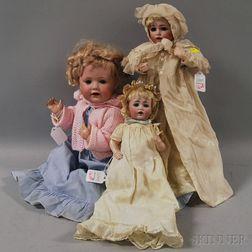 Three Kestner Bisque Head Baby Dolls
