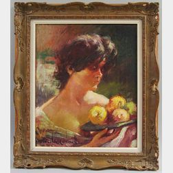 Gonzales Carbonell (Spanish, 20th Century)      Woman Holding a Platter of Fruit.