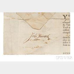 Hancock, John (1737-1793) Signed Document Fragment.