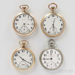 "Four Illinois ""Burlington"" Open-face Watches"