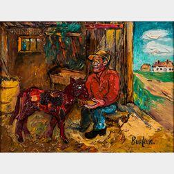 David Davidovich Burliuk (Ukrainian/American, 1882-1967)      Sharing a Meal on the Farm