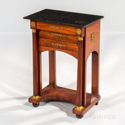 Directoire Granite-top Mahogany-veneered Side Table