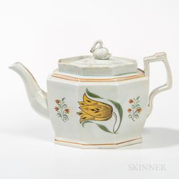 Floral-decorated Pearlware Teapot