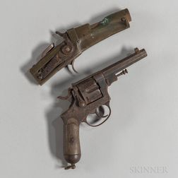 Toschi Castelli Model 1889 Double-action Revolver and a Late 19th Century Homemade Brass-framed Pistol