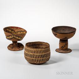 Three Northwest California Polychrome Basketry Bowls