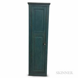 Country Blue-painted Pine Chimney Cupboard