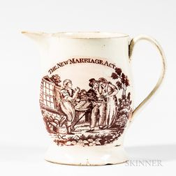 "Small Liverpool Red Transfer-decorated ""The New Marriage Act/Hope"" Jug"