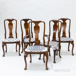 Set of Five Morgan & Co. Queen Anne-style Mahogany Dining Chairs