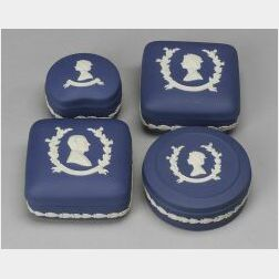 Four Wedgwood Royal Blue Jasper Boxes and Covers