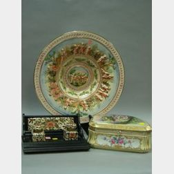 Capo di Monte Charger, a Handpainted Porcelain Dresser Box and a English Imari-style