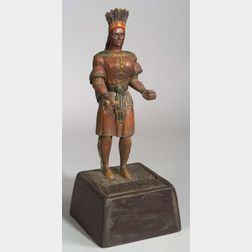 Polychrome Painted Carved Wooden Countertop Cigar Store Indian