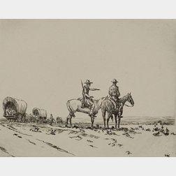 Hans Kleiber (German/American, 1887-1967)    Wagon Train Scouts.