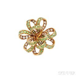 Antique Gold, Demantoid Garnet, and Diamond Brooch