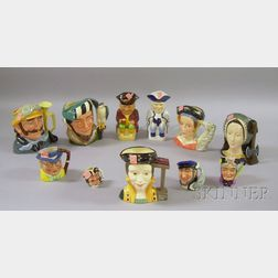 Nine Royal Doulton and Artone Ceramic Character Jugs, and Two Wood & Sons Tobys