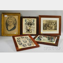 N. Currier (American, 1813-1888), and Currier & Ives, publishers (American, 1857-1907) Five Framed George Washington Related Works: The